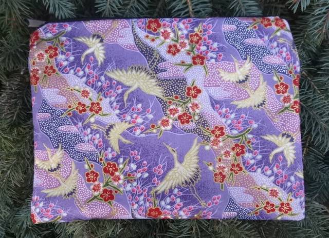 Crane Landscapes in purple Slide Mahjongg card and coin purse