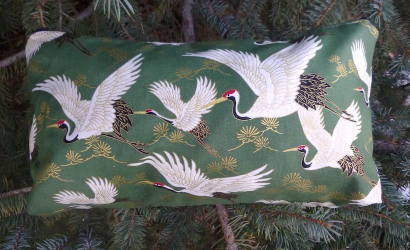 Cranes on green Large Zini Flat Bottom Bag