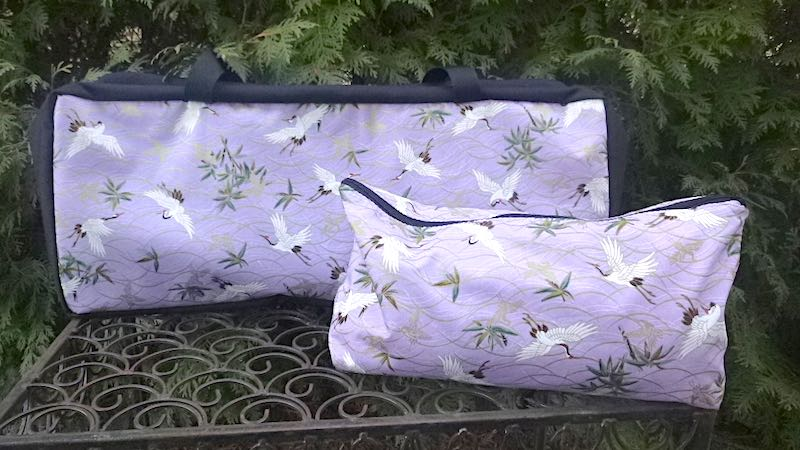 Cranes on lavender Mah jongg Storage Set The Zippered Tote-ster and Large Zini