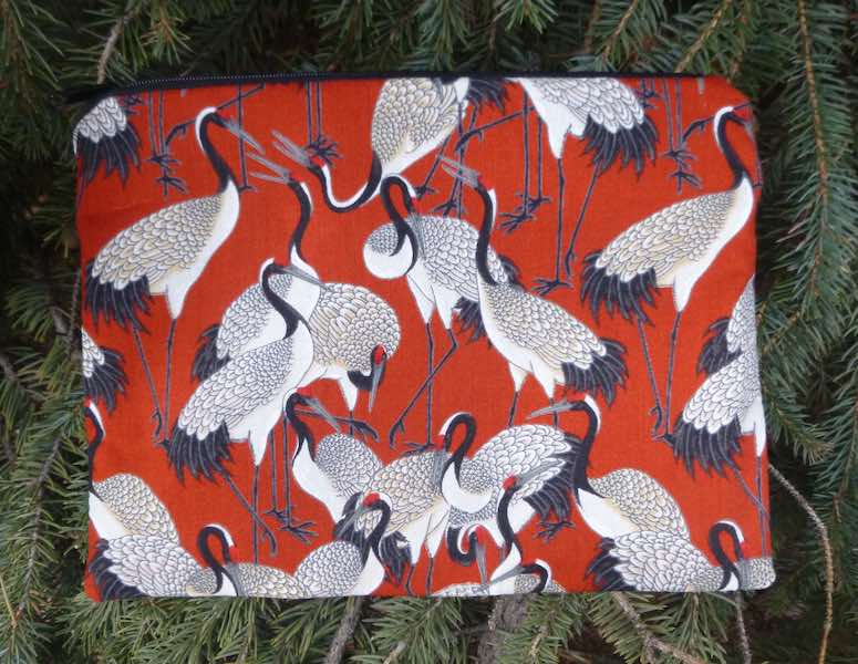 Cranes on red Mahjongg card and coin purse, The Slide