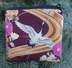 Cranes on burgundy Coin Purse, The Raven