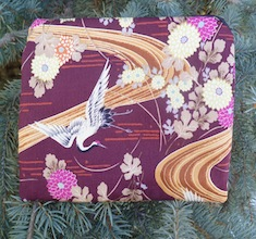 Cranes on Burgundy zippered bag, The Scooter
