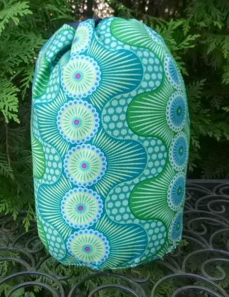 Crazy Dots in green SueBee Round Drawstring Bag