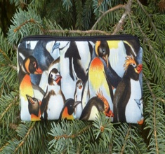 Crowded penguins pen and pencil case, crochet hook pouch, The Scribe