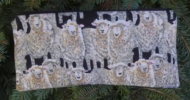 "Curious Sheep pouch for 8"" Knitting Needles, The Deep Sleek"