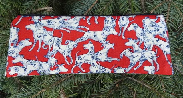 Dalmatians on red pen and pencil case, crochet hook pouch, The Scribe