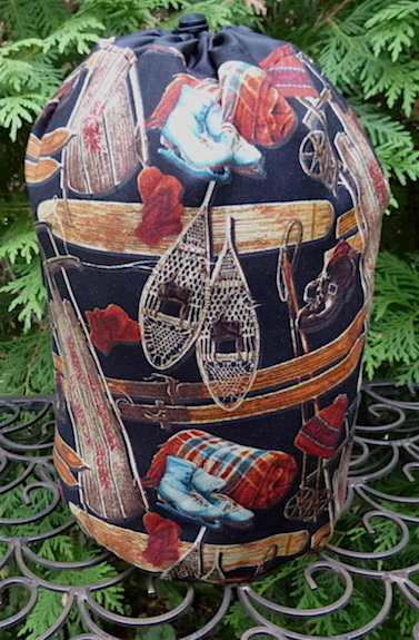 Day at the Lodge SueBee Round Drawstring Bag