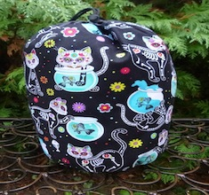Day of the Dead Cats SueBee Round Drawstring Bag