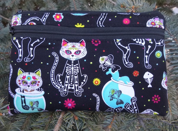 Day of the Dead Cats clutch, smart phone wallet, mini shoulder bag, up to iPhone 8 Plus wallet, The Wisteria