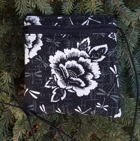 Peonies and Dragonflies Robin, a smart phone purse on a string