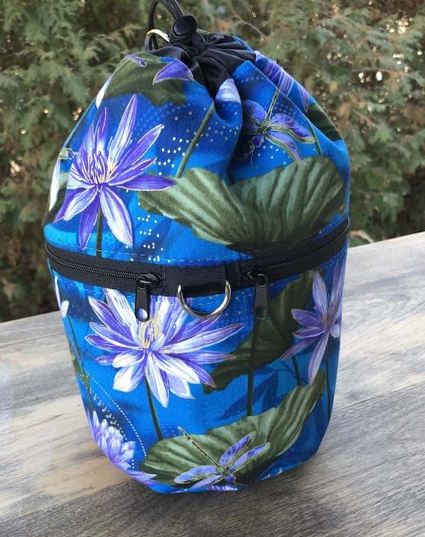 Dragonflies and Water Lilies Kipster Knitting Project Bag