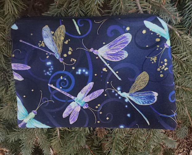 Dragonfly Dance in blue zippered bag, The Scooter