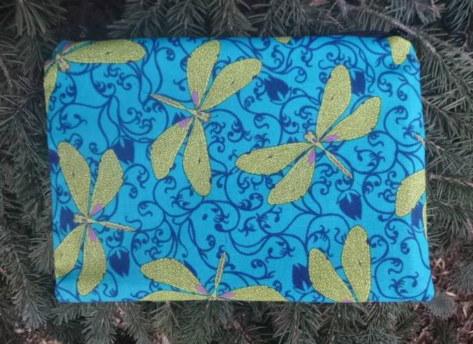 Dragonflies in the Garden in blue zippered bag, The Scooter