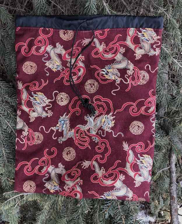 Asian Dragons flat drawstring bag for shoes, lingerie, or knitting, The Flatie
