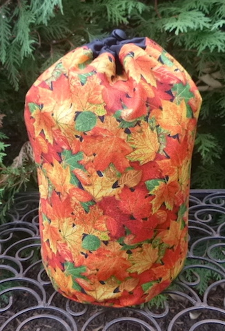 Fall Leaves SueBee Round Drawstring Bag