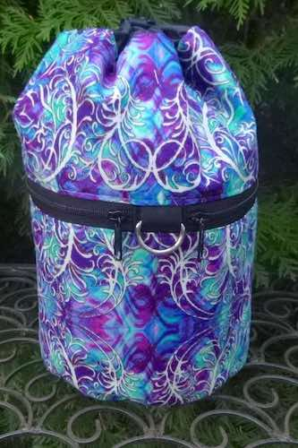 Blue Filigree Kipster Knitting Project Bag