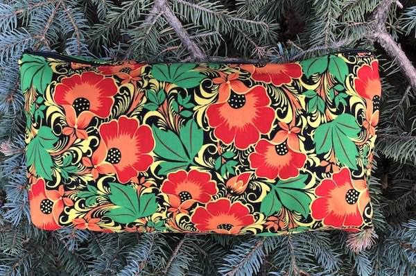 Floral Orange Large Zini Flat Bottom Bag