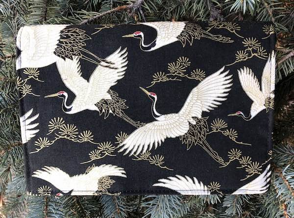 Flying Cranes on black Wallet on a String