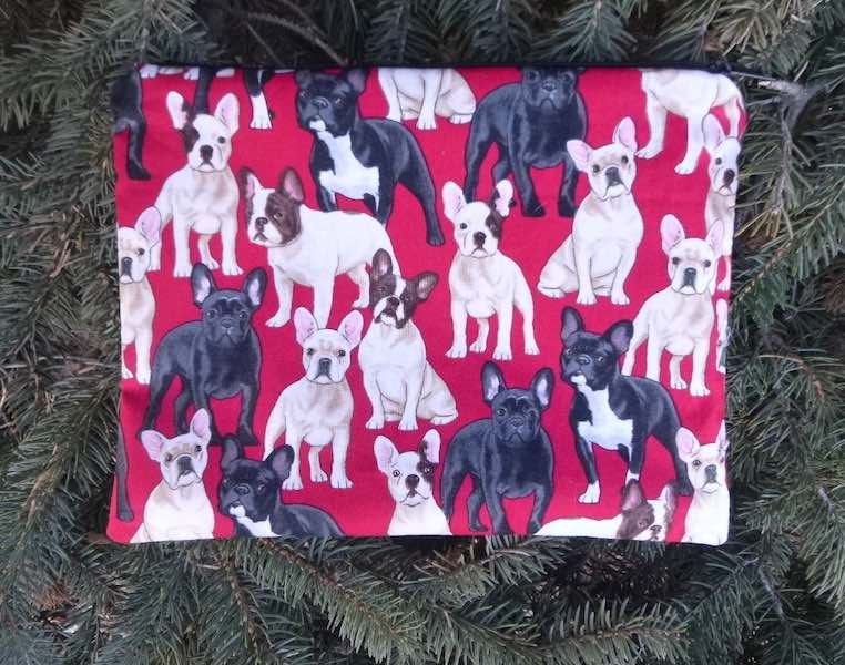 French Bulldogs Supa Scribe extra large pencil case or makeup bag