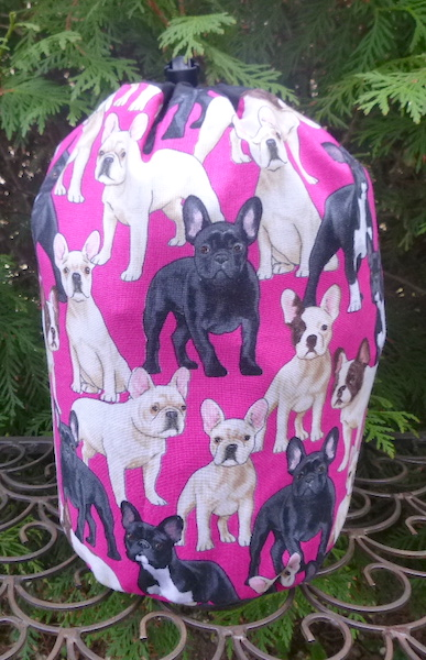 French Bulldog SueBee Round Drawstring Bag
