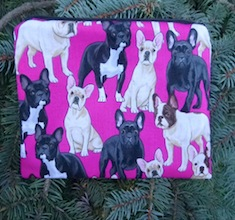 French Bulldogs on Fuchsia zippered bag, The Scooter