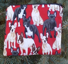 French Bulldogs on red zippered bag, The Scooter