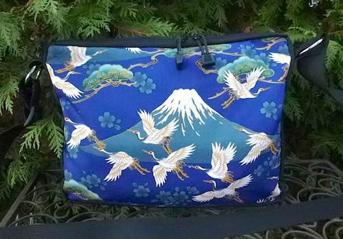 Mt. Fuji and Cranes on blue small Honeysuckle zippered tote