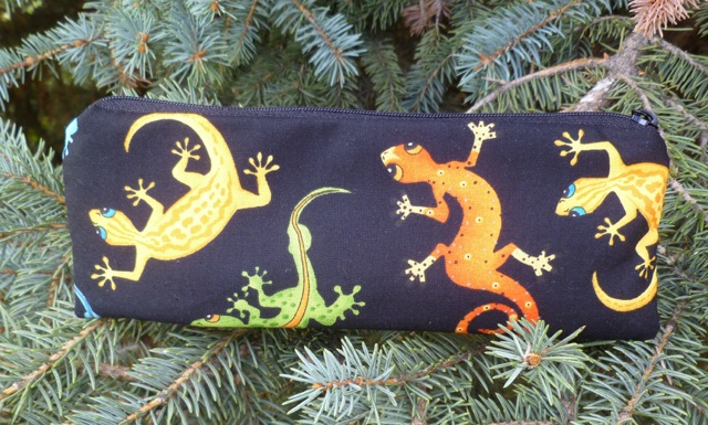 Colorful geckos pen and pencil case, crochet hook pouch, The Scribe