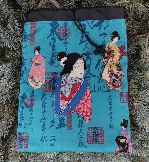 Geisha and Caligraphy Flatie Jr. a flat drawstring bag