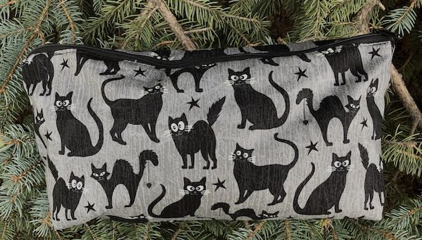 Black Cats with glow in the dark eyes Large Zini Flat Bottom Bag