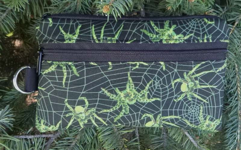 Glow in the Dark Spiders Mini Wallet Purse Organizer, iPhone wallet, The Sweet Pea- CLEARANCE
