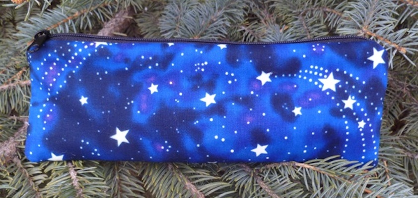 Glow in the dark stars pen and pencil case, crochet hook pouch, The Scribe