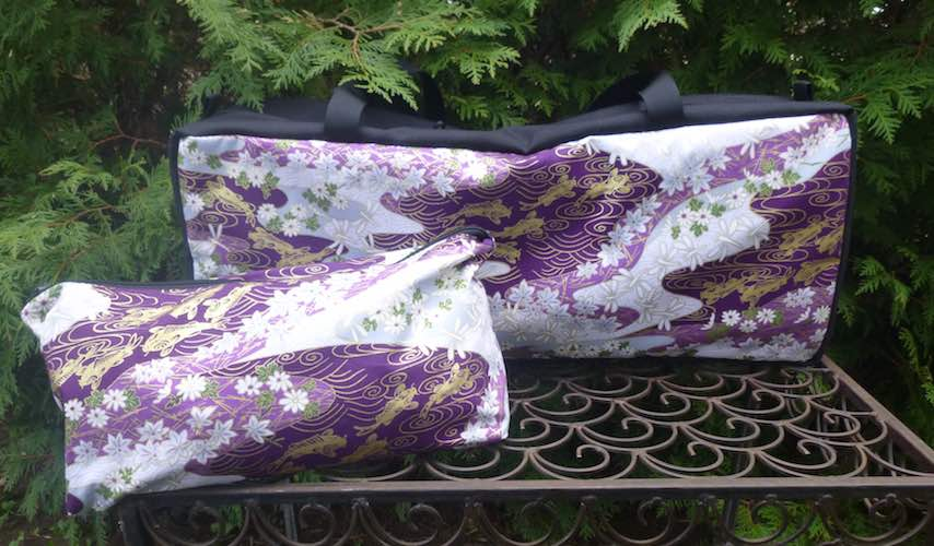 Golden Koi on Purple Mahjongg Storage Set The Zippered Tote-ster and Large Zini