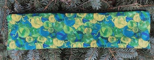 Green Yarn Balls Long Knitting Needle Pouch, The Stitch