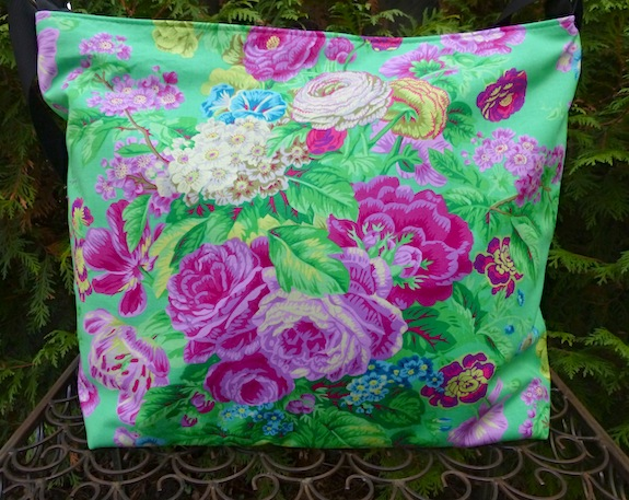 Kaffe Fassett Green Floral Delight Britta zippered tote