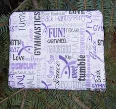 Gymnastics in white and purple zippered bag, The Scooter