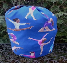 Gymnasts on blue drawstring bag, The Large Suebee
