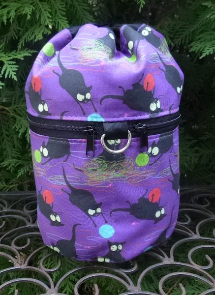 Happy Kitty in purple Kipster Knitting Project Bag