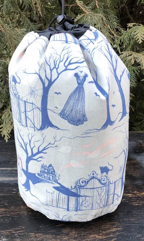 Haunted Graveyard SueBee Round Drawstring Bag