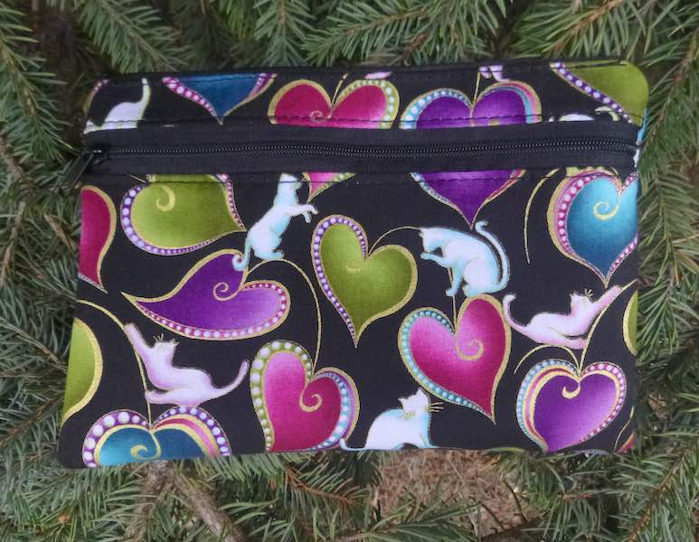 Hearts and Cats clutch, smart phone wallet, mini shoulder bag, iPhone 6 wallet, The Wisteria