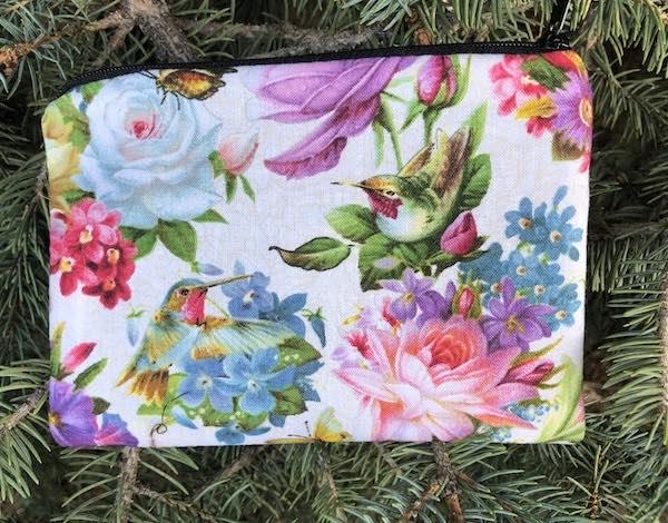 Hummingbird Bouquet Goldie zippered bag