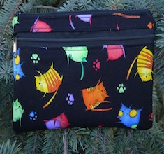 Jumpy Cats clutch, smart phone wallet, mini shoulder bag, The Wisteria