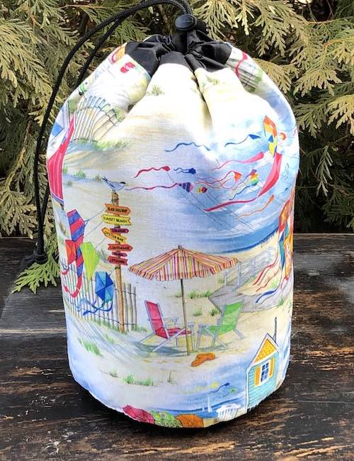 Beach Kites SueBee Round Drawstring Bag