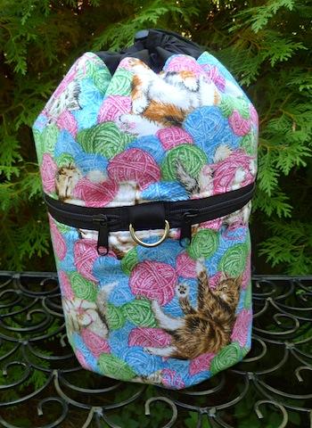 Kittens and yarn Kipster Knitting Project Bag