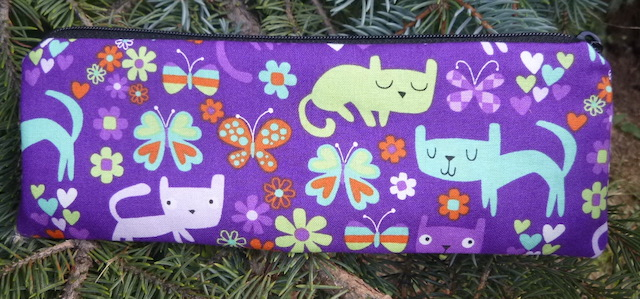 Kitty cats and butterflies pen and pencil case, crochet hook pouch, The Scribe