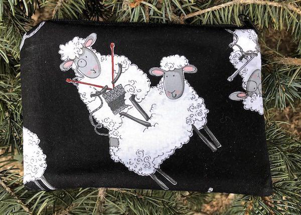 Knitting Sheep Goldie zippered bag