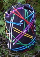 Knitting Needles SueBee Round Drawstring Bag