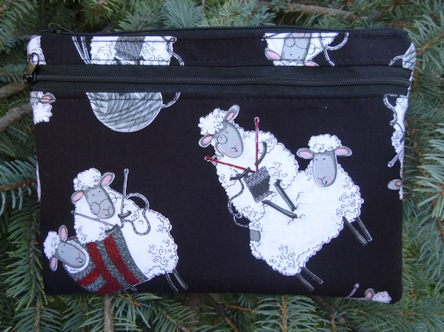 Knitting Sheep Morning Glory convertible clutch wristlet or shoulder bag