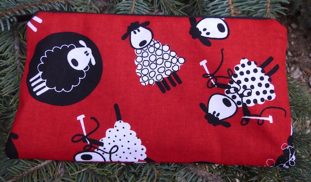 Knitting Sheep on Red Deep Scribe pen and pencil case