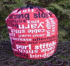 Knitting Words SueBee Round Drawstring Bag